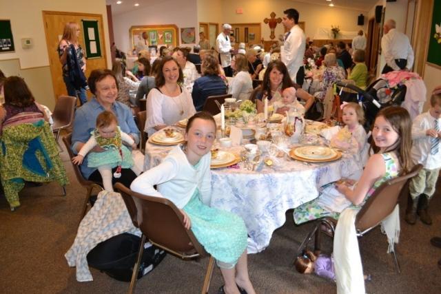 Young ladies enjoying tea